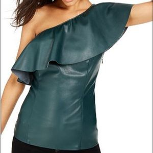 INC Faux leather Top